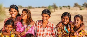41813774-group-of-happy-indian-children-desert-village-india